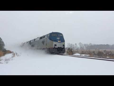Thumbnail: GARYSBURG, NC NB Snow Ghost train rollling after picking up CSX crew in Weldon 1/7/2017 3:20pm