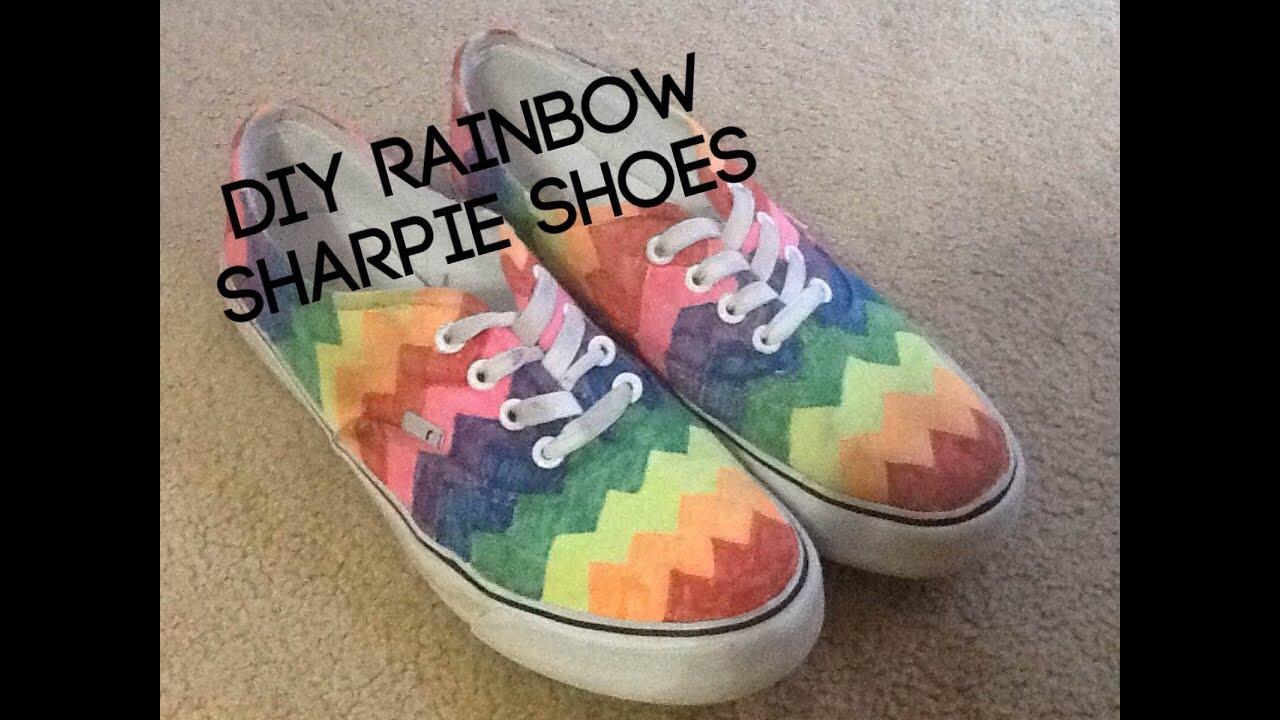 7fc7d5b192db DIY Rainbow Sharpie Shoes - YouTube