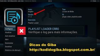 COMO CORRIGIR O ADDON PLAYLIST LOADER TV ONLINE