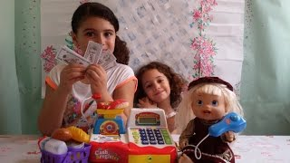 BABY ALIVE PLAYING WITH THE CASHIER REGISTER CASH MONEY CREDIT CARD KITCHEN TOOLS