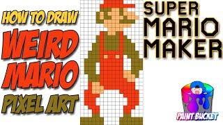 How to Draw Weird Mario (Weird Mushroom) - Super Mario Maker 8-Bit Speed Drawing Tutorial