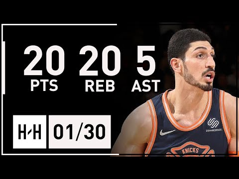 Enes Kanter Full Highlights Knicks vs Nets (2018.01.30) - 20 Pts, 20 Reb, 5 Assists!