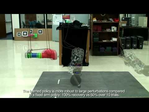 Learning Dynamic Arm Motions for Postural Recovery