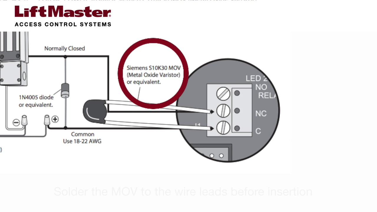 liftmaster how to wire a maglock to the el2000 el2000ss el1ss or el25 telephone entry system [ 1280 x 720 Pixel ]