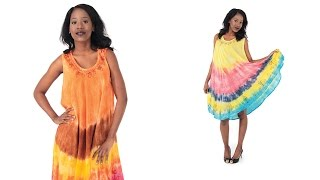 Ethnic tie dye dress in vibrant colors from Africa Imports