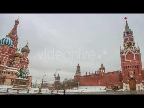Moscow Kremlin Main Clock Named Kuranti on Spasskaya Tower on Red Square   Stock Footage - Videohive
