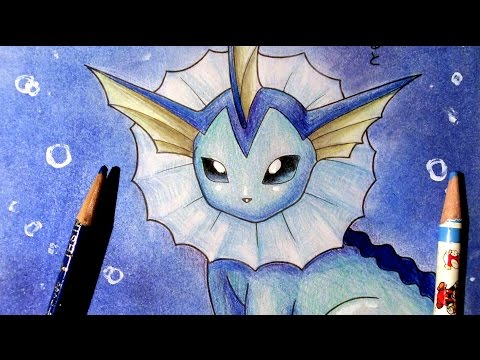 ASMR(binaural) | Coloring with colored pencils & pastels | Vaporeon