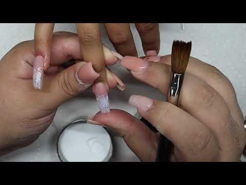 Glitter ombre coffin nail tutorial thumbnail