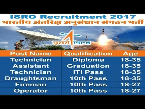 Indian Space Research Organisation Recruitment | Sarkari Naukri 2017 | Govt jobs All over India
