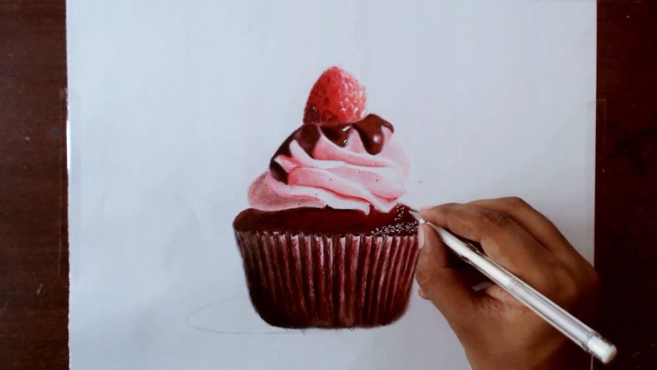 drawing a chocolate cupcake prismacolor pencils youtube