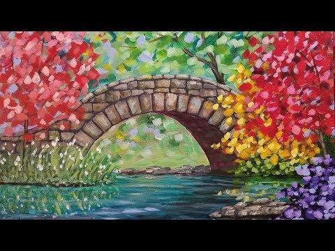 Autumn Bridge Landscape LIVE Acrylic Step by Step Beginner Painting Tutorial