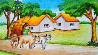 How to draw scenery of bullock cart with oil pastel.Step by step(easy draw)