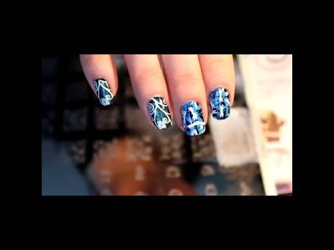 Stamping: blue dragonflies