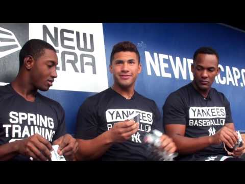 Gleyber Torres, Jorge Mateo & Miguel Andujar open a box of baseball cards