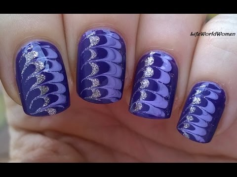 NEEDLE NAIL ART #6 - Gold & Purple DRAG MARBLE NAILS - YouTube