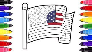Coloring Pages The American Flag | Coloriage video pour enfant | How to draw and learn colors