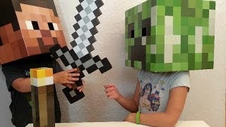 Minecraft - Creeper and Steve Head, Foam Sword, Torch Review!
