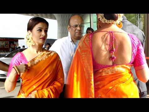Aishwarya Rai In HOT Backless Saree At Mumbai Airport