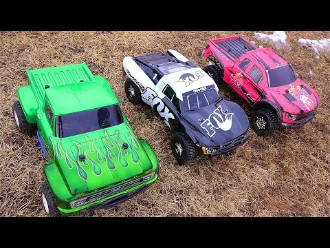 RC ADVENTURES – 3 Traxxas Slash 4×4's Cold Bashing! Many broken parts…