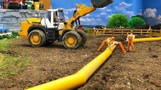 BRUDER toys construction PIPE !   Excavator and front loader action   Video for kids!