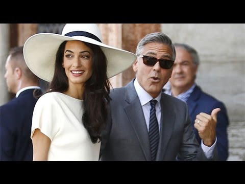 George Clooney and Amal Alamuddin arrive for Venice civil wedding ceremony in Venice