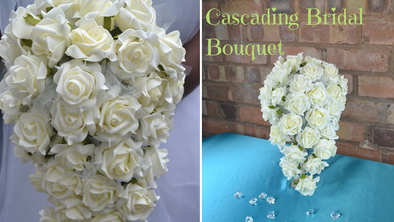 How To Create Your Own Cascading Bridal Bouquet Diy Wedding Flowers