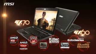 MSI GX70 and MSI GX60 gaming laptops AMD A10, Radeon graphics