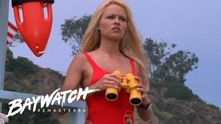C J Parker Spots Trouble In The Sea Can The Team Save Everyone? Baywatch Remastered