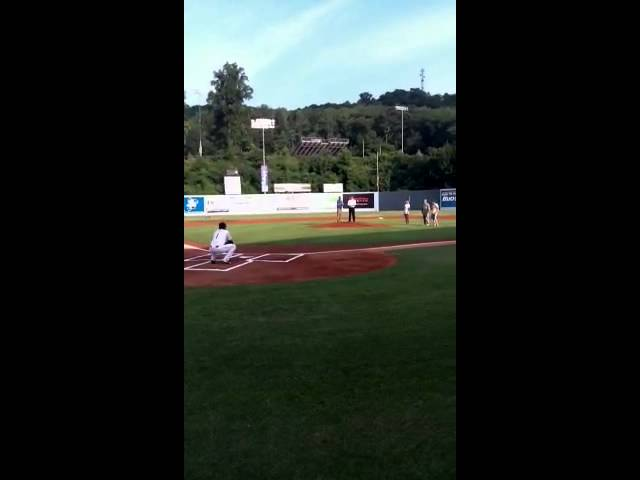 Aleks throwing out first pitch