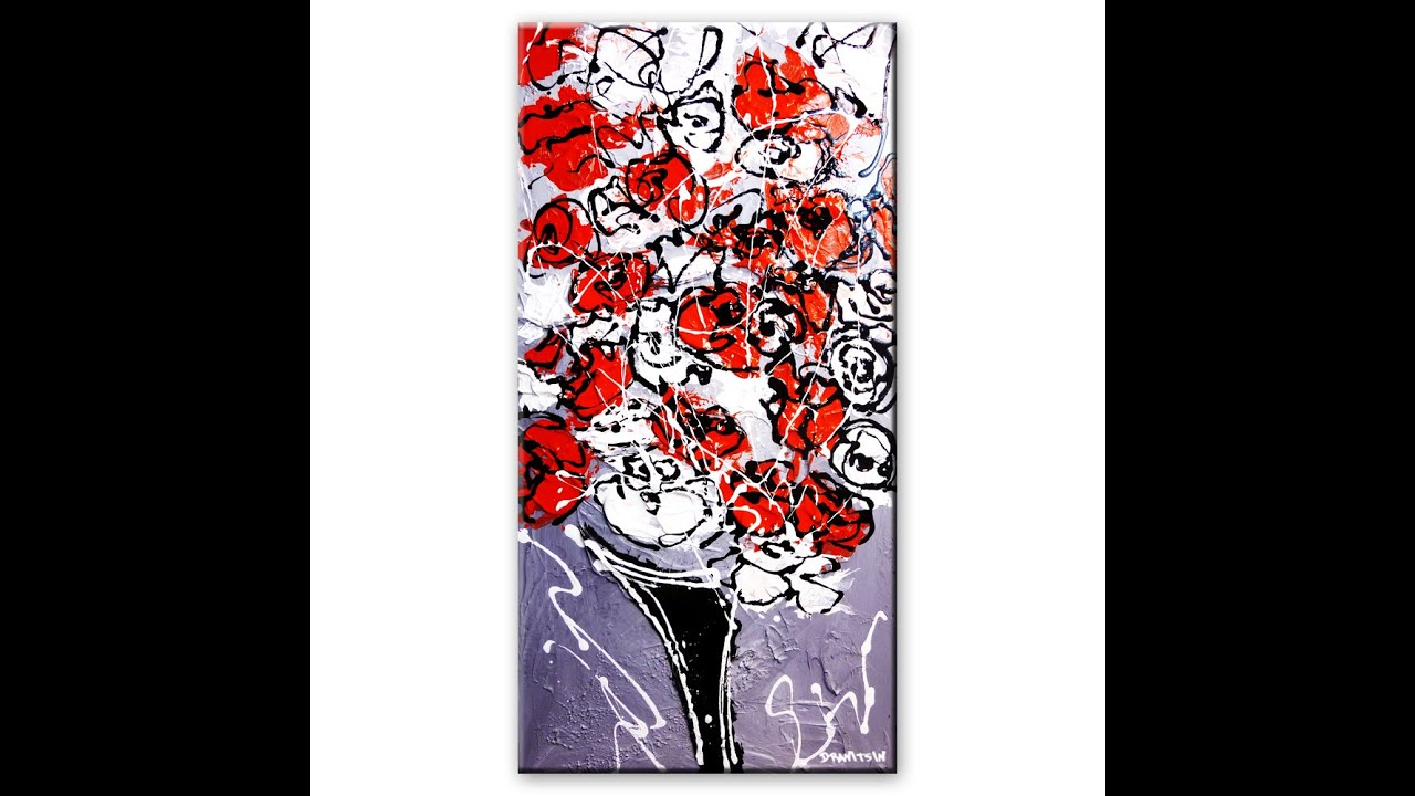 Step By Step Abstract Art Video Tutorial On Painting Beautiful Flowers With  Acrylic Paint On Canvas