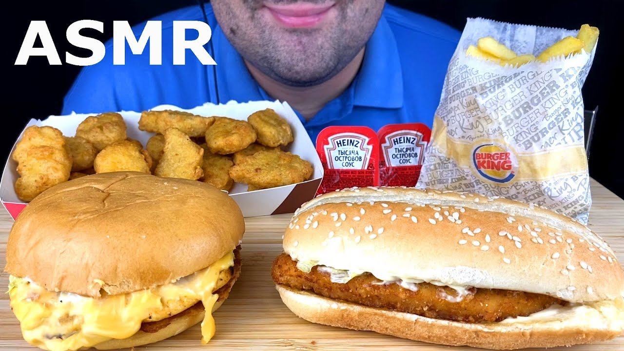 ASMR:*Burger King* Mukbang (Eating Cheese Sandwich, Long Chicken Burger) Eating Sounds