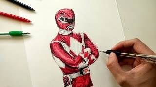 Red  Ranger Drawing - Power Rangers : Mighty Morphin