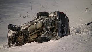 Black Ice, Road Crash, B-rolls, Spin-outs Footage Snow Storm Minnesota 2014