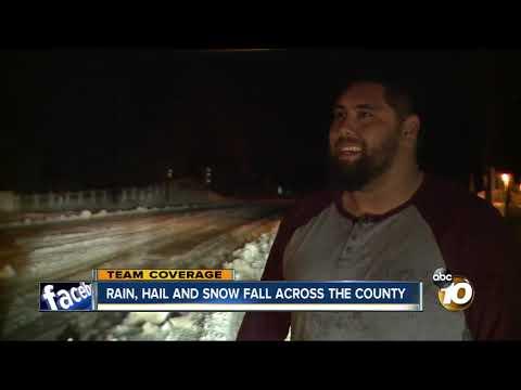 Rain, snow and hail fall across San Diego county
