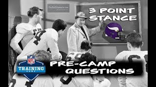 Football Gameplan's 3 Point Stance - Vikings Pre-Camp Questions