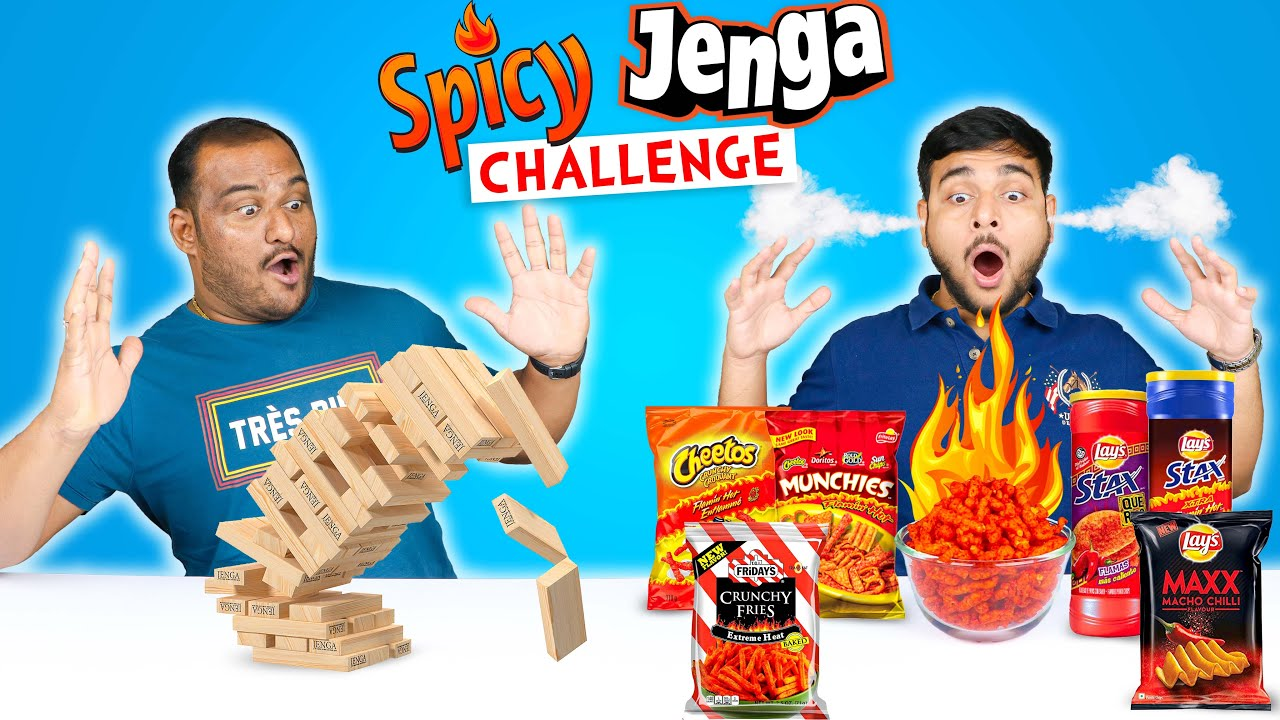 SPICY JENGA CHALLENGE | Spicy Snacks Eating Challenge | Food Eating Competition | Viwa Food World