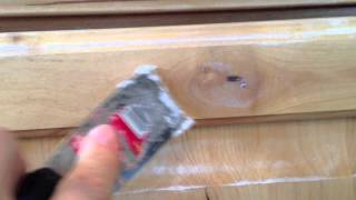 How to Paint Kitchen Cabinets: Step 2 Filling Knots