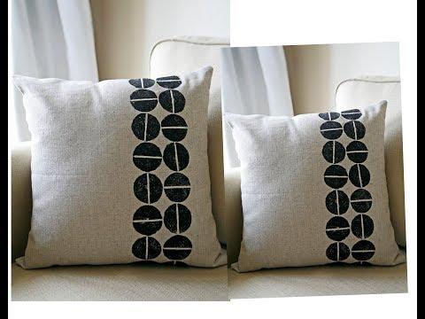 Cushion Cover vegi block Printing | Fabric paint work | Home Decor DIY