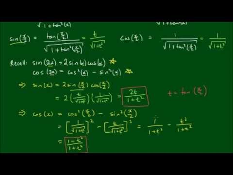 Expressing sin(x) and cos(x) in terms of t = tan(x/2)