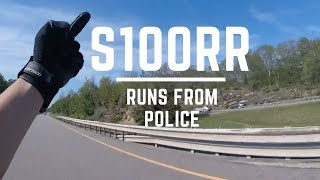 BMW s1000rr runs from cops! Almost gets Caught!! EPIC! Gets away too!