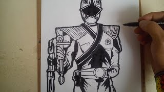COMO DIBUJAR POWER RANGER SAMURAI DORADO / how to draw power ranger samurai gold
