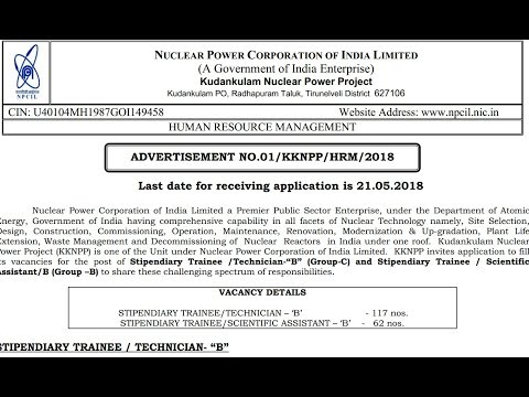"Nuclear Power Corporation of India Ltd Stipendiary Trainee /Technician-""B"""