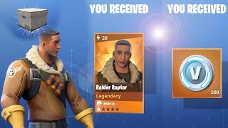 Fortnite Collection Book vBucks rewards Raider Raptor and Llamas - Collection book to level 100