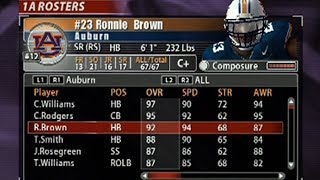 NCAA  FOOTBALL 2005 AUBURN TIGERS NAMED ROSTER - DYNASTY INTRO