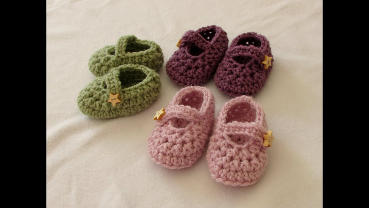 How To Crochet For Beginners : crochet easy baby Mary Jane shoes - booties / slippers for beginners ...