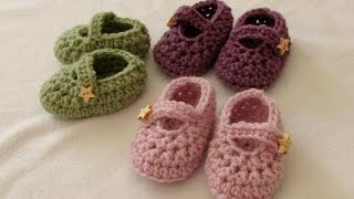How to crochet easy baby Mary Jane shoes - booties / slippers for beginners