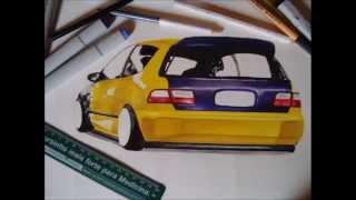 Stanced Honda Civic EG Draw | desenho #HondaFTW - RB Artworks