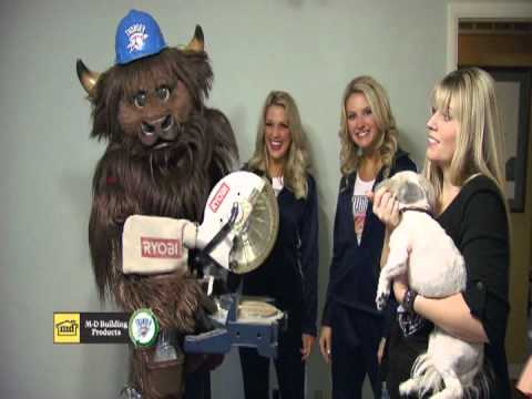 Rumble the OKC Thunder Mascot, Thunder Cheerleaders and M-D Building Products
