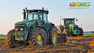 The birth of a rice field - John Deere 8530, 8430, 7290R - Ground Levelling   4K