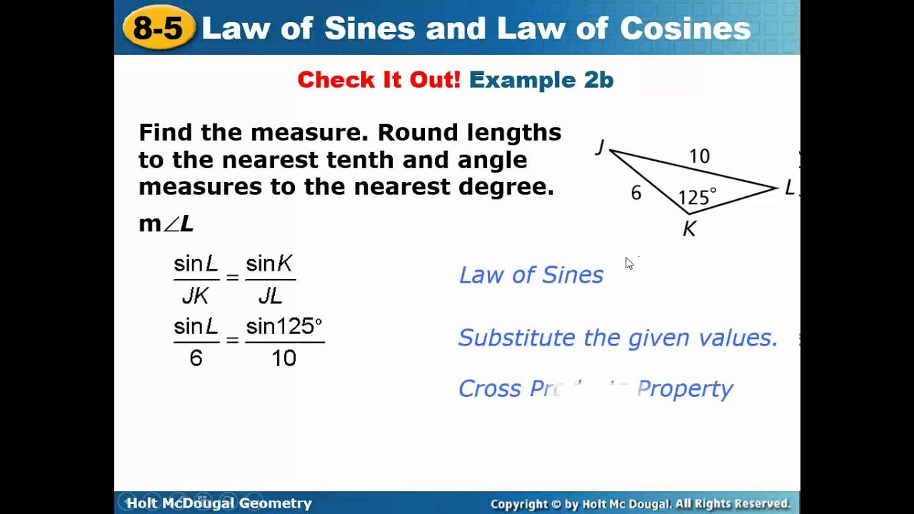 Geometry 85 Law of Sines and Law of Cosines YouTube – Law of Sines and Cosines Worksheet
